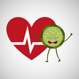 Cartoon heart kiwi fruit Stock Images