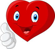 Cartoon heart love giving thumb up  on white background Royalty Free Stock Photo