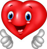 Cartoon heart love giving thumb up  on white background Royalty Free Stock Photography
