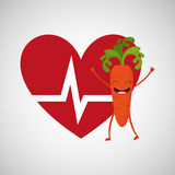 Cartoon heart rate carrot Royalty Free Stock Photo