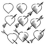 Cartoon heart set Stock Photo