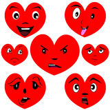 Cartoon heart set with faces. Heart set with faces showing different emotions Stock Images