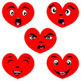 Cartoon heart set with faces. Heart set with faces showing different emotions Stock Photo