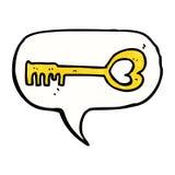cartoon heart shaped key with speech bubble Royalty Free Stock Image