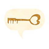 cartoon heart shaped key with speech bubble Stock Photos