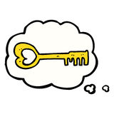cartoon heart shaped key with thought bubble Royalty Free Stock Photos