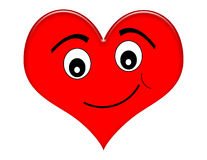 Cartoon Heart with Smile. Smiling red heart illustration isolated on white vector illustration