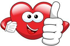 Cartoon heart thumb up Royalty Free Stock Image