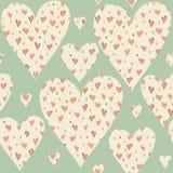 Cartoon hearts and circles seamless pattern. Stock Photography