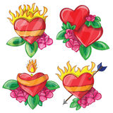 Cartoon hearts with fire for design Royalty Free Stock Image