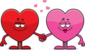 Cartoon Hearts Holding Hands Royalty Free Stock Images