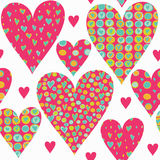 Cartoon hearts seamless pattern. Valentines day card design. Royalty Free Stock Image