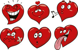 Cartoon hearts set. Cartoon illustration of funny hearts collection Stock Images