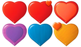 Cartoon hearts set Royalty Free Stock Images