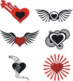 Cartoon hearts set pack Royalty Free Stock Image