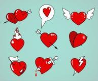 Cartoon hearts set Royalty Free Stock Photo