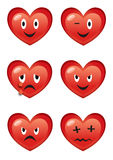 Cartoon hearts various expressions. Set of funny cartoon hearts with various facial expressions isolated on white background Stock Images