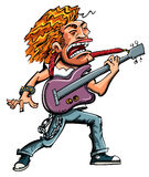 Cartoon of a heavy metal singer. With a guitar Royalty Free Stock Image