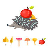 Cartoon hedgehog with apple on his back. Stock Image