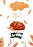 Cartoon hedgehog with gold leaves, autumn card. royalty free stock photography