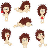 Cartoon hedgehog jumping, sleeping, crying, pleading and holding Stock Photo