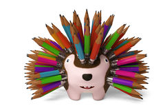 A cartoon hedgehog, pencil in the back.3D rendering. Stock Photo
