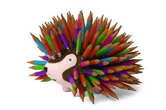 A cartoon hedgehog, pencil in the back.3D rendering. Royalty Free Stock Photos