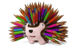 A cartoon hedgehog, pencil in the back.3D rendering. Stock Photography