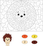 Cartoon hedgehog pleads. Color by number educational game for ki Stock Photos