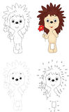 Cartoon hedgehog with red flower. Dot to dot game for kids Royalty Free Stock Photo