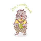 Cartoon hedgehog with smoothies Royalty Free Stock Photo