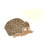 cartoon hedgehog with speech bubble Stock Images