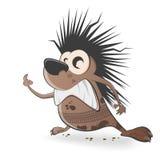 Cartoon hedgehog with tire track Stock Image