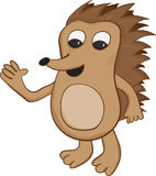 Cartoon hedgehog vector. Happy chubby brown cartoon hedgehog waving Royalty Free Stock Photo