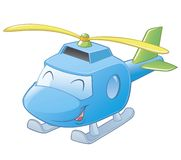 Cartoon Helicopter. Vector illustration of a cartoon helicopter. Layered and grouped for easy editing Stock Photo