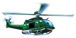 Cartoon helicopter - caricature Stock Photo