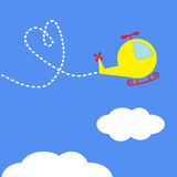 Cartoon helicopter. Dash heart  in the sky. Card. Stock Images