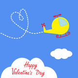 Cartoon helicopter. Dash heart  in the sky. Happy  Royalty Free Stock Photography