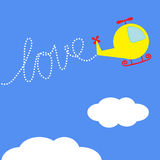 Cartoon helicopter. Dash word LOVE  in the sky. Ca Stock Photography