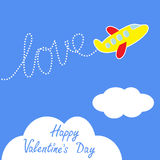 Cartoon helicopter. Dash word LOVE  in the sky. Ha Stock Image