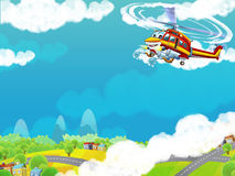 Cartoon helicopter - illustration for the children Royalty Free Stock Photo
