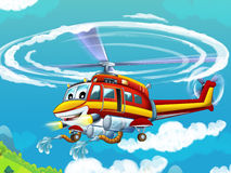 Cartoon helicopter - illustration for the children Royalty Free Stock Images