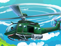 Cartoon helicopter - illustration for the children Stock Photography
