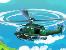 Cartoon helicopter - illustration for the children Royalty Free Stock Image