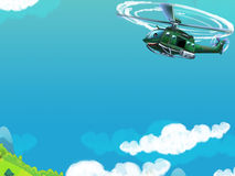 Cartoon helicopter - illustration for the children Stock Photos
