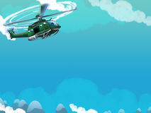 Cartoon helicopter - illustration for the children Stock Photo