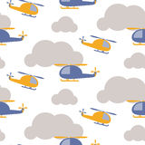 Cartoon helicopter in sky seamless vector pattern. Royalty Free Stock Images
