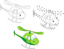 Cartoon helicopter. Vector illustration. Coloring and dot to dot Royalty Free Stock Photos