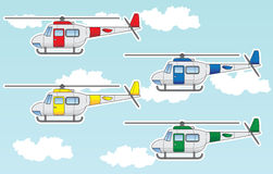 Cartoon helicopters set Royalty Free Stock Photos