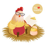 Cartoon hen and chick reading a book Stock Photography